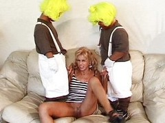 Two midgets nailing a hot blondie