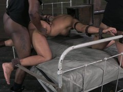 Slave strapped to bed and fucked hard