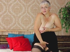 granny in stockings take it all off