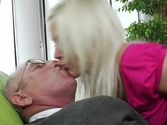 Horny juvenile golden-haired engulfing and fucking old dude