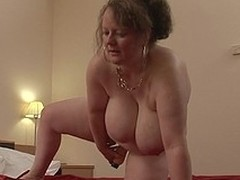 Extensive titted german housewife carrying-on with her toys