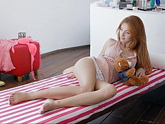 Playful redhead teen Michelle rendition in the flesh