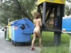 An exhibitionist whore walks in be passed on park.