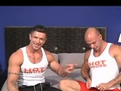 Several unconcerned muscle men do blowjobs with an increment for anal