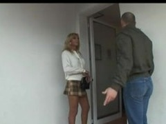 Blond Italian Lady-Boy Allana have sexual intercourse on couch