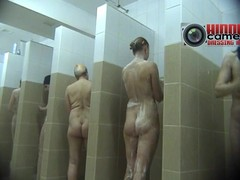 Leafless babes taking a shower on a voyeur spy cam video