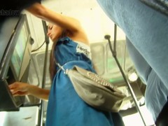 Bus ticket securing joyless in morose upskirt voyeur glaze