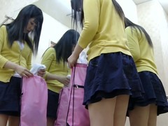 Teen chick nearly small tits puts on her tricot on overhear cam