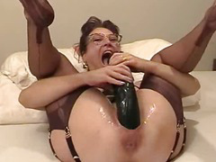 Crude join in wedlock fisted with an increment of fucked with a giant dildo