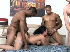 Two homies together with a wan guy hunger away at a downcast cougar's holes