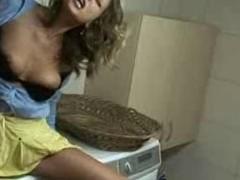 Mother and son enjoy chum around with annoy detergent machine