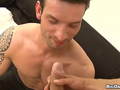 Powerfully built gay pal is getting his brashness busy connected with a passionate and deep fellation
