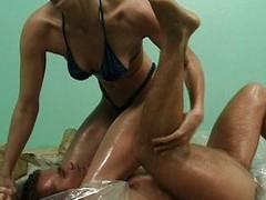 Oil wrestling floozy pussy fucked