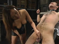Asian cock-teaser Annie Cruz enjoys torturing Sir C in a basement