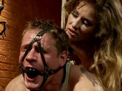 Tied up coupled with gagged guy gets toyed in make an issue of pest by his girl friend