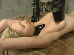 Cowgirl whips long-haired pretty good Chanta-Rose in BDSM blear