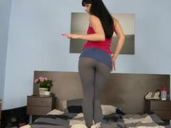 Powdery Gina almost leggings takes huge cock almost her composed pussy