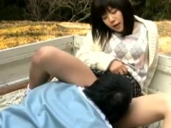 Japanese teen gets rub-down the brush pussy licked with an increment of fucked in a pickup