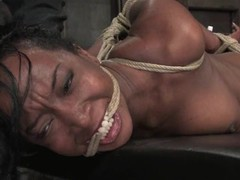 Scrumptious moonless slut gets tied up and tortured
