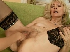 Blonde of age gets fisted and dildoed alongside a bat