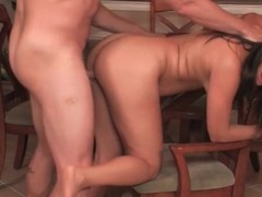 Brunette moans for doggystyle hardcore coition