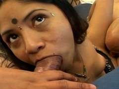 Chubby indian gets a mouthful be advisable for flannel in a triune