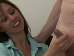 Femdom cfnms jerks dick after a long years sitting exceeding couch