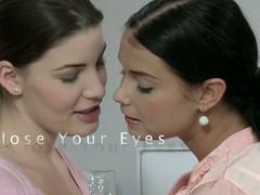 Fervent lesbian kissing between XXX Lily and Victoria B