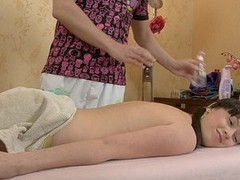 Brunette enjoys a sexual massage of the first time