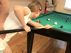 Hot ladies are getting penetrated on the pool table by a dude